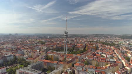 transmitter tower : Drone aerial panorama view Television Tower in Prague, Czech Republic