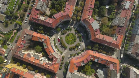 チェコ共和国 : Cityscape of Prague, Flight over the city. Aerial View of the Prague city Panoramic view from above.