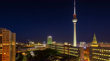 berlin skyline : BERLIN, GERMANY - MAY,2019: Timelapse view of Central Berlin and famous television tower near Spree River