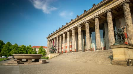 historical germany : BERLIN, GERMANY - MAY,2019: Timelapse view of the historic building of Berlin Old Museum Altes Museum
