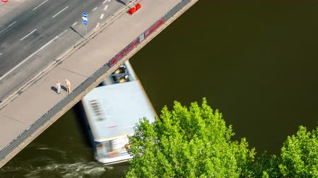 berlin skyline : BERLIN, GERMANY - MAY,2019: Timelapse view of a boat and ship movement on Spree river in Berlin city centre