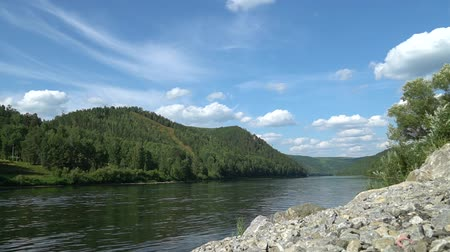 zálesí : Scenic summer mount landscape with fast moving volumetric clouds above river Dostupné videozáznamy