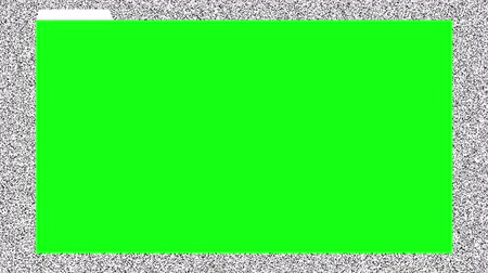artifacts : Chromakey green browser window, ready for post-production, on animated background with old tv noise. Seamless loop. Stock Footage