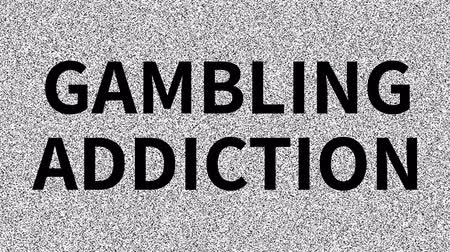 Social issue: Gambling Addiction. Noise on old tv screen, looping VHS interference. Vintage animated background.