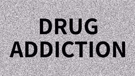 Drug Addiction. Word about medicine problem on noisy old screen. Looping VHS interference. Vintage animated background. Archivo de Video