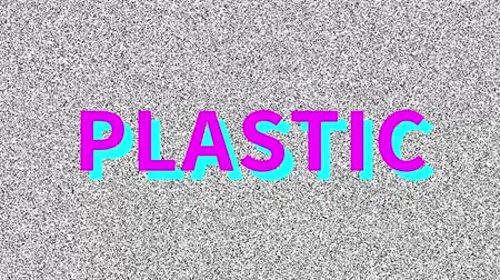 Plastic Word about ecology problem on noisy old screen. Looping VHS interference. Vintage animated background.