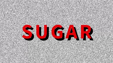 Sugar. Word about food problem on noisy old screen. Looping VHS interference. Vintage animated background.