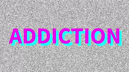 Addiction. Word about medicine problem on noisy screen. Looping VHS interference. Vintage animated background.