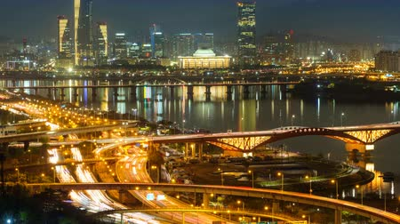 han river : Seoul cityscape in twilight, South Korea. Stock Footage