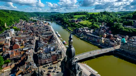 camera panning : Timelapse of Dinant town, Belgium Stock Footage