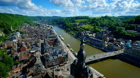 camera panning : Aerial view of Dinant town, Belgium