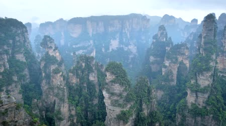oszlopsor : Zhangjiajie mountains, China Stock mozgókép