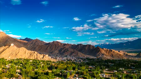 gompa : Sunset panorama of Leh city. Ladakh, Jammu and Kashmir, India