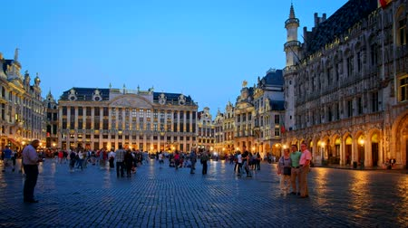 belga : Brussels bruxellesGrote Markt (Grand Place) square illuminated at night , Belgium Vídeos