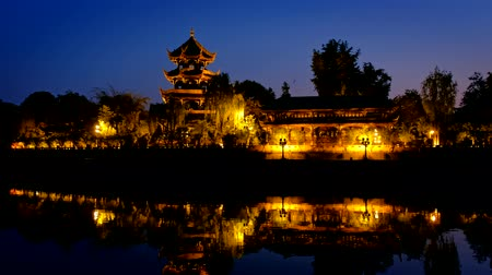 bank tower : Wangjiang Pavilion in Wangjianglou park. Chengdu, Sichuan, China