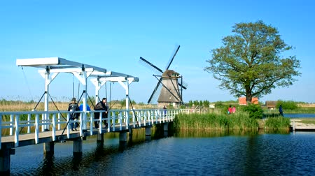 tourist silhouette : Windmill at Kinderdijk in Holland. Netherlands Stock Footage