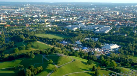 münchen : Aerial view of Olympiapark . Munich, Bavaria, Germany Stock mozgókép