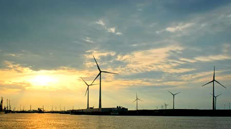 ベルギーの : Wind turbines in Antwerp port on sunset.