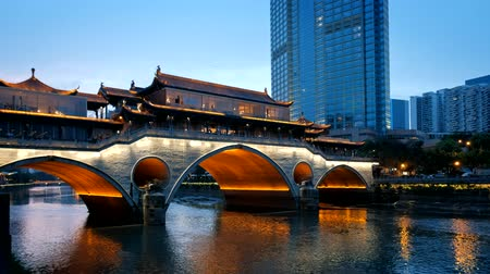 歩道橋 : Anshun bridge at night, sichuan , China