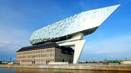 Antwerp port administration headquarters, designed by famous iranian architect Zaha Hadid, Antwerpen, Belgium Stock Footage