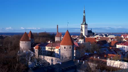 エストニア : Aerial view of Tallinn Medieval Old Town, Estonia 動画素材