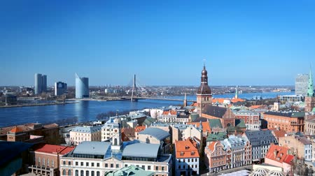 lette : Aerial view of Riga center from St. Peters Church, Riga, Latvia