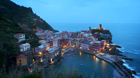 camera panning : Vernazza village, Cinque Terre, Liguria, Italy Stock Footage
