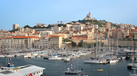 marseille : Marseille Old Port with yachts. Marseille, France Stock Footage