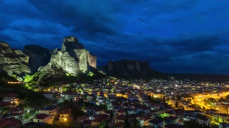 kalambaka : Timelapse of Meteora famous place in Kalambaka, Greece Stock Footage