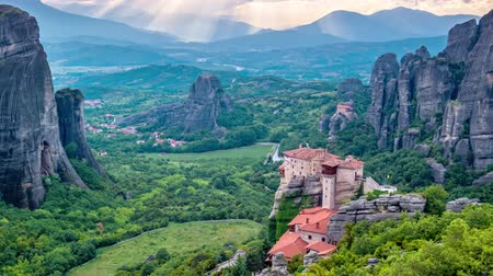 god ray : Timelapse of Meteora monasteries in Greece