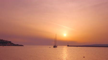 marseille : Boats in port of Marseille on sunset. Marseille, France Stock Footage