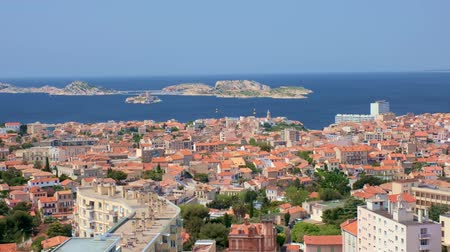 要塞 : View of Marseille town. Marseille, France