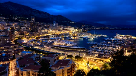 riviera : Timelapse of Monaco in the night Stock Footage