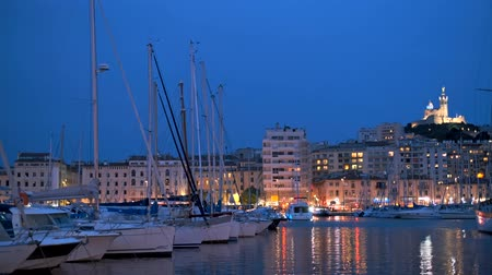 luxury yacht : Marseille Old Port in the night. Marseille, France Stock Footage