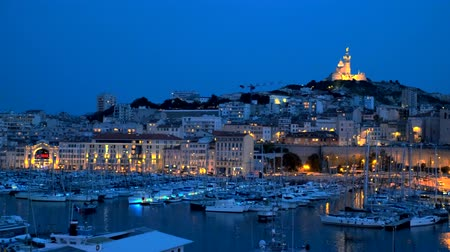 marseille : Marseille Old Port in the night. Marseille, France Stock Footage