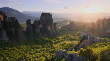 kalambaka : Meteora monasteries in Greece on sunset Stock Footage