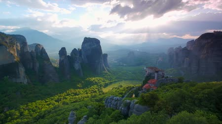 kalambaka : Meteora monasteries in Greece Stock Footage