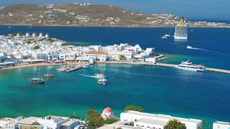Эгейский : Mykonos island port with boats, Cyclades islands, Greece