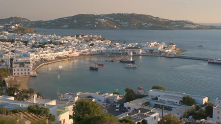 aegean sea : Mykonos island port with boats, Cyclades islands, Greece