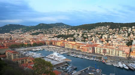 tied : View of Old Port of Nice with yachts, France