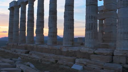 aegean sea : Poseidon temple ruins on Cape Sounio on sunset, Greece