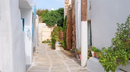 Киклады : Walking in Naousa street on Paros island, Greece Стоковые видеозаписи