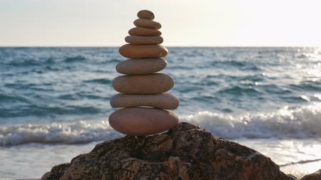 shui : Concept of balance and harmony - stone stacks on the beach