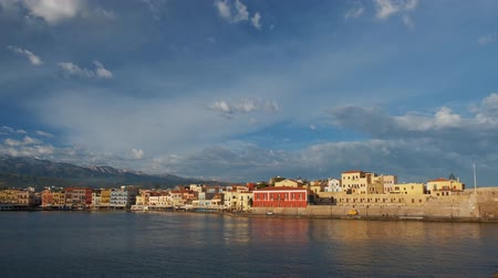 camera panning : Picturesque old port of Chania, Crete island. Greece