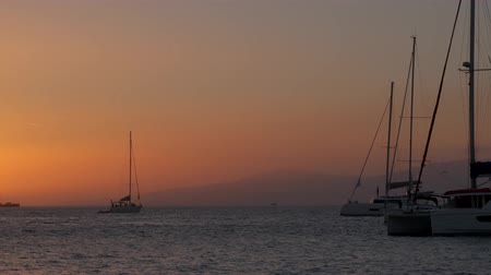 Киклады : Sunset in Mykonos, Greece, with cruise ships and yachts in the harbor Стоковые видеозаписи