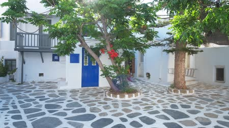 Киклады : Mykonos street on Mykonos island, Greece Стоковые видеозаписи