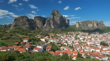 camera panning : Scenic landscape of Meteora in Greece