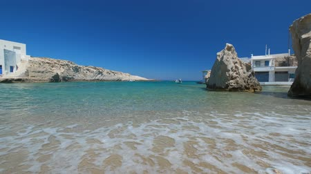 aegean sea : The beach of Mitakas in Milos, Greece Stock Footage