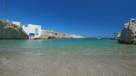 Киклады : The beach of Mitakas in Milos, Greece Стоковые видеозаписи