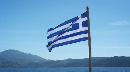 greek flag : Greek flag waving in the sky